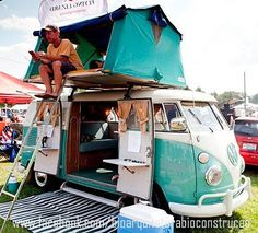 VW Bus camper + roof tent platform...Brought to you by #House of #Insurance #Eugene, #Oregon