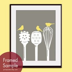 Birds on a Pasta Ladle, Spatula & Whisk 8x10 Print (Featured in Gravel and Canary) Modern Vintage Prints (Customizable Colors). $12.95, via Etsy.