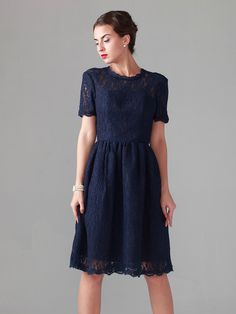 Elbow Sleeved Lace Dress With Ruffled Skirt | Plus and Petite sizes available! Hundreds of styles, tons of colors!