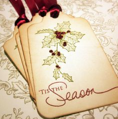 Christmas Tags - Holly/Tis the Season - Vintage Appearance - Set of 5