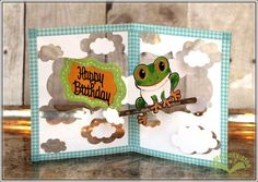 Karen Burniston using the Pop it Ups Katie Label Pivot Card, clouds from the All Seasons Tree plus Hoppy the Frog die sets by Karen Burniston for Elizabeth Craft Designs