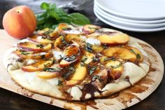 Peach, basil, mozzarella balsamic pizza....