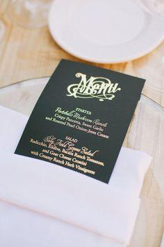 gilded menus by http://www.copperwillow.com/  Photography by christinefarah.com