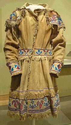 Image detail for -Hunting Coat, Delaware or Shawnee 1840's. Buckskin, silk ribbon. glass ...