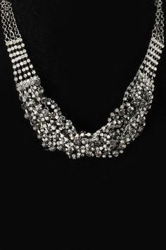 Cara Twisted Statement Necklace In Black Diamond