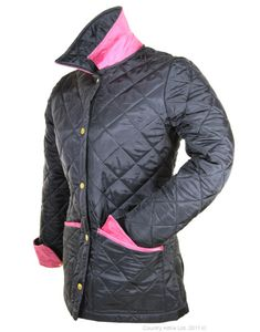 Barbour quilted jacket with pink!