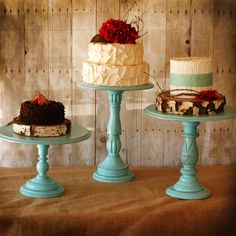 """Rustic Tall Pedestal Serving Cake Stands - Set of 1 - Any color- with 12"""" diameter top. $85.00, via Etsy. cupcak, heart, handmade wedding, colors, cake stands, wedding cakes, pedestal, small cakes, parti"""