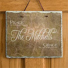 Peaceful Welcome Personalized Slate Plaque