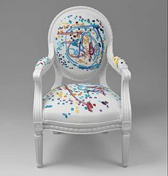 This is what can happen if you let your child loose on decorating a chair. Fun.