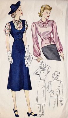 """1930s Misses Dress Vintage Sewing Pattern,  Peter Pan Collar, Flared Skirt, Simplicity 2721 Bust 38"""". $ 30 via Etsy."""