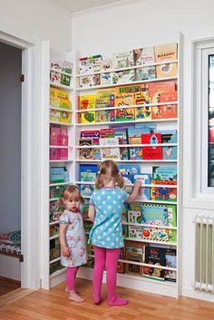 Newsstand-Style Corner Book Display Rack for Kids
