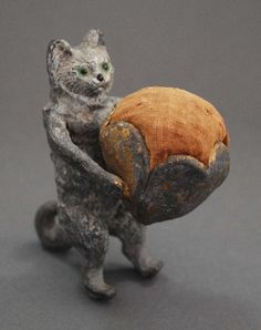 "Crazy cat lady's antique pin cushion. (Antique European ""Cold Painted"" Spelter Standing Cat Pin Cushion C 1900)"