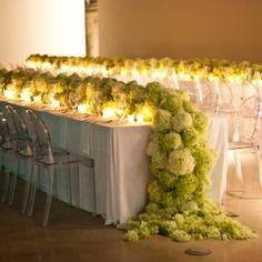 cascading hydrangea table runner- beyond