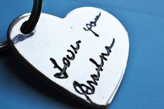 Sweet Signatures- Your Loved One's Handwriting in Silver Heart Keychain Memorial Remembrance Bereavement Gift