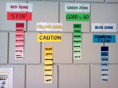 Zones of Regulation display: common feelings that fall into each zone  http://www.schoolcounselingfiles.com/1/post/2013/08/my-kick-ass-office.html