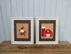Farm Nursery Prints on Burlap 8x10 Set of 2 YOU CHOOSE / Children's Wall Art / Nursery Decor / Tractor Wall Art