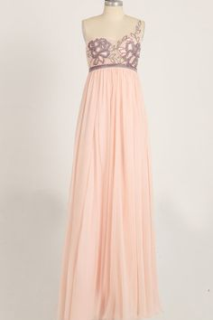Pink One Shoulder Chiffon Evening/Ball/Formal Dress by M1LABEL, $298.00