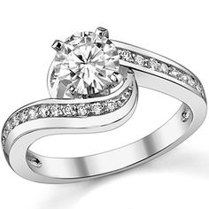 Round Moissanite Bypass Engagement Ring, like my Moms ring