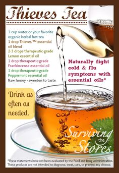Make Thieves Tea to help with cold and flu symptoms!!  This works for me every time!  More details in the post when you click the image.