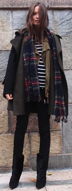 The layered look.  #fashion #style #streetstyle jacket, fashion, black boots, outfit, street styles, winter layers, prints, coat, stripe
