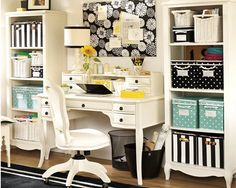 I love the look of this desk and all the storage.  studio, office spaces, color, crafting room, organized office, desk, craft room, white furniture, home offices