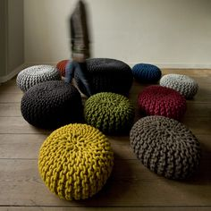 knitted poufs