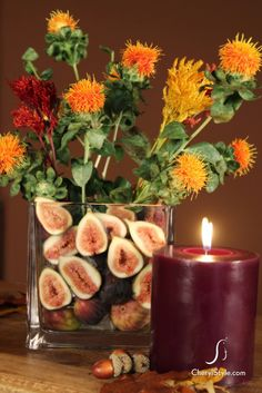"""""""Cool Simple Minimalist Thanksgiving Centerpiece Decor with Fresh Wildflower and Fig"""" -- Figs are so hard to find here that I never would waste them in decorations, but I love the look! table decorations, wildflowers, thanksgiving decorations, thanksgiv centerpiec, thanksgiving centerpieces, thanksgiving table, fig centerpiec, homes, table centerpieces"""