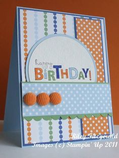 boy or girl card - Stamps: bring on the cake; Paper: bashful blue, brilliant blue, watercolor paper, jersey shore dp Ink: stazon jet black; Accessories: stampin' write markers, scallop border punch, corderoy buttons, circle nesties