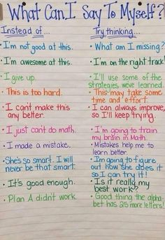 Chart--Growth Mindset thinking (I want to do this at the beginning of next school year to establish positive/strategies.)