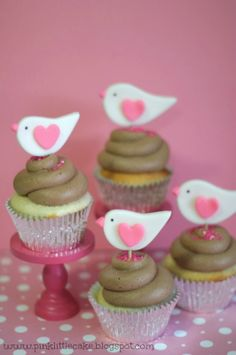 Valentine Birds Cupcake Toppers