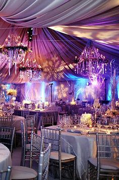 All silver .. made dramatic with the purple and aqua lighting .. so elegant!