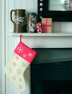 Super sweet DIY felt snowflake stockings. #cydconverse