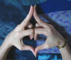 The Kalesvara mudra calms anxious thoughts and agitated feelings. How to form the Kalesvara mudra: Place both palms together pairing thumbs and all fingers at tips. Fold index, ring, and pinky fingers downward. Middle fingers are extended outward. Point thumbs toward your body.