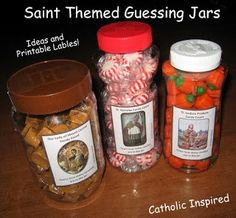Saint Themed Guessing Jars ~ Ideas and Labels! ~ 6 easy and fun games!!  - Catholic Inspired