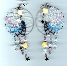 Large Beaded Dream Catcher Earrings Pattern by Charlotte Holley - Beaded Legends by Chalaedra at Bead-Patterns.com