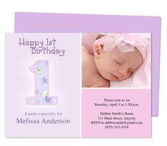 Dainty 1st Birthday Invitations Templates. Printable DIY edits with Word, OpenOffice, Publisher, Apple iWork Pages