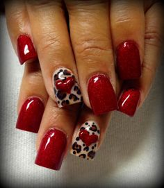 Red Leopard Print Heart Nails