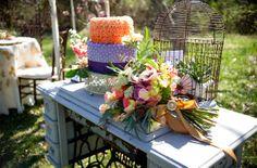 Charming Vintage Styled Wedding Inspiration Shoot - Purple and Orange Wedding Cake  #weddingcake #wedding