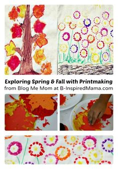 Season Craft - Exploring Spring and Fall with Printmaking from Blog Me Mom at B-InspiredMama.com #kids #kidsart #kbn