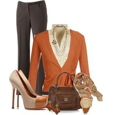 """Love the scarf, necklace, and two tone shoes.  """"Work outfit for fall"""" by wulanizer"""