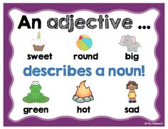 FREE adjective anchor chart by Ms. Makinson.