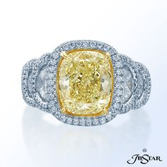 set with half moon white diamonds in micro pave setting. Platinum/18KY