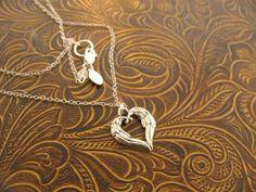 Fine silver Angel Heart / Angel wings by MayaBelle on Etsy, $53.00
