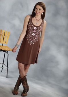 Roper® Brown Embroidered A-Line Sleeveless Jersey Western Dress