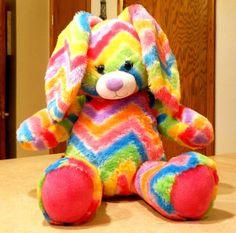 Build A Bear Factory Stripes A Lot Bunny Chevron Colorful Plush Stuffed Rabbit