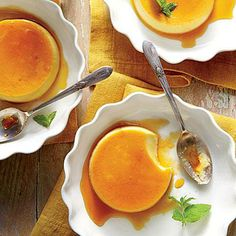 Honey Flans | An elegant make-ahead dessert, these custards sing with faint floral notes and sweet honey. | SouthernLiving.com