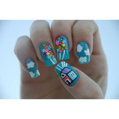 style, disney up nails, nail arts, movi, beauti, fun nail art, nail design, disney themed nails, fun nailart