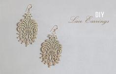 DIY: Lace Earrings diy ideas, craft, кружевные серьги, diy lace, lace earring, jewelri diy, wedding lace, diy wedding, diy earrings