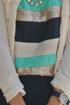 color, sequin stripe, outfit, blous