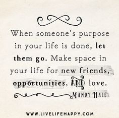 When someone's purpose in your life is done, let them go. Make space in your life for new friends, opportunities, and love. -Mandy Hale